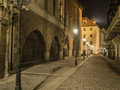 Mysterious night street in Prague. Beautiful view. The alley wit Royalty Free Stock Photo