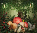 Mysterious place fantasy image with mushroom and stump in the forest Stock Images