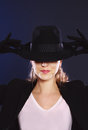Mysterious woman in black hat Royalty Free Stock Photo