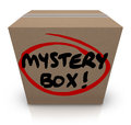 Mystery cardboard box shipment package classified contents words on a or with mysterious and unknown things inside Stock Image