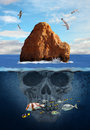Mystery island composition of a with water birds fish and a skull underwater Stock Photography