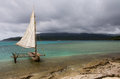 Mystery island traditional outrigger canoe on popular cruise port inyeug vanuatu Royalty Free Stock Photos