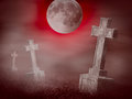 Mystery old graveyard at midnight halloween collage with a group of cross tombstones Stock Photography
