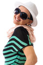 Mystery woman laughing with white hat and black sunglasses summer clothing and accessories big smile studio shoot isolated on Royalty Free Stock Photography