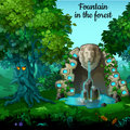 Mystic garden and fountain with lion head Royalty Free Stock Photo