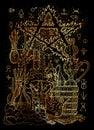 Mystic illustration with alchemical symbols, skull, fire pentagram and laboratory equipment on black background