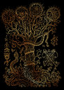 Mystic illustration with spiritual and christian religious symbols as snake, tree of knowledge and forbidden fruit on black backgr