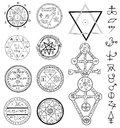 Mystic set with magic circles, pentagram and symbols Royalty Free Stock Photo