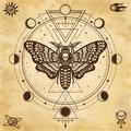 Mystical drawing: Moth Dead Head, circle of a phase of the moon. Sacred geometry. Royalty Free Stock Photo