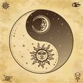 Mystical drawing: Stylized sun and moon with human face, day and night. Zen symbol. Royalty Free Stock Photo