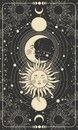 Mystical drawing of sun with face, moon and crescent moon, background for tarot card, magic boho illustration. Golden sun with Royalty Free Stock Photo