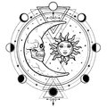 Mystical drawing: sun and moon with human faces, circle of a phase of the moon.