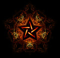 Mystical fiery star wiccan decorated with red pattern on a black background Royalty Free Stock Images