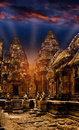 Mystical temples of cambodia at night before sunrise Royalty Free Stock Image