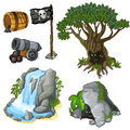 Mystical tree, cave, waterfall and pirate symbols Royalty Free Stock Photo