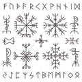 Mystical viking runes. Ancient pagan talisman, norse rune symbol. Mysticism awe vector symbols Royalty Free Stock Photo