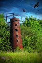 Mysticism rusty water tower Royalty Free Stock Photo