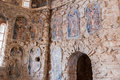 Mystras frescoes byzantine church detail of the religious on a wall of the ruins of a peloponnese greece Royalty Free Stock Images