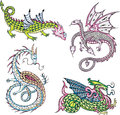 Mythic dragons four set of color vector illustrations Royalty Free Stock Photos