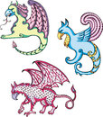 Mythic griffins three set of color vector illustrations Royalty Free Stock Images