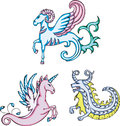 Mythic sea goats and unicorn creatures set of color vector illustrations Royalty Free Stock Photo