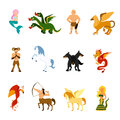 Mythical creature images set creatures and monsters from different mythologies and fairy tales flat cartoon isolated vector Stock Photography