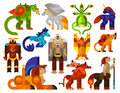 Mythical creatures icons set with legendary monster animals flat isolated vector illustration Stock Photography