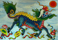 Mythical Dragon, painted relief Royalty Free Stock Photos
