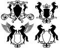 Mythical heraldry set of heraldic shields with rearing up magic horses pegasus and unicorns easy editable collection Royalty Free Stock Images
