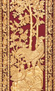 Mythical thai style carving on wooden temple door general art Stock Photography