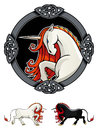 Mythical unicorn stylized in ornamental frame fairy tale creature vector illustration Royalty Free Stock Photos