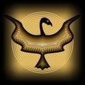 Mythologic ornamental bird silhouette, tribal symmetric drawing on black background with gold curves Royalty Free Stock Photo
