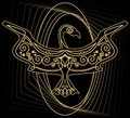 Mythologic ornamental bird silhouette, tribal symmetric drawing on black background with gold curves Royalty Free Stock Photo
