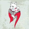 Mythological Kitsune. Mythical fox from Japanese folklore. The series of mythological creatures