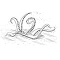 Mythological kraken tentacles with the sea on a white background Royalty Free Stock Image