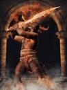 Mythological Minotaur with a sword