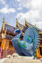 mythological peacocks guarding the buddhist church, ban den sally see monk can temple, chiang mai
