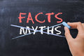 Myths or Facts concept with business woman hand drawing on blackboard Royalty Free Stock Photo