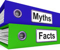 Myths facts folders mean factual meaning and untrue information Stock Image