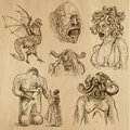 Myths and monsters legendary around the world set no collection of an hand drawn illustrations description each drawing comprise Stock Photography