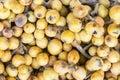 Níspero, nipero or mespel Japanese medlar fruit, taken in a market in Peru. Royalty Free Stock Photo