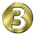 Número enmarcado de oro 3 Fotografía de archivo