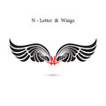 N-letter sign and angel wings.Monogram wing logo mockup.Classic Royalty Free Stock Photo