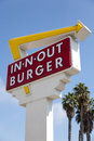 In n out burger sign with a sky blue background the Royalty Free Stock Image