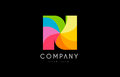 N rainbow colors logo icon alphabet design