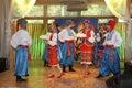оn stage are dancers and singers, actors, chorus members, dancers of corps de ballet, soloists of the Ukrainian Cossack ensemble