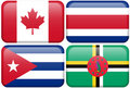 NA Buttons: Canada, Costa Rica, Cuba, Dominica Stock Photography