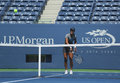 Na li de champion de grand chelem pratique pour l us open chez arthur ashe stadium chez billie jean king national tennis center Images stock