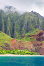 Na pali coast in a cloudy day view on on kauai island on hawaii Royalty Free Stock Images