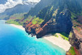 Na pali coast on kauai island view hawaii in a sunny day Stock Photography